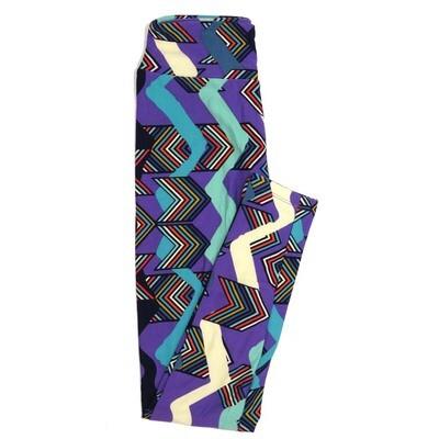 LuLaRoe One Size OS Blue Black White Purple Chevrons Buttery Soft Womens Leggings fit Adult sizes 2-10  OS-4352-AJ