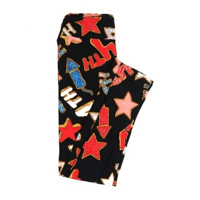 LuLaRoe One Size OS Americana USA Black Stars fireworks 4th Blue Red White Buttery Soft Womens Leggings fit Adult sizes 2-10  OS-4359-AL