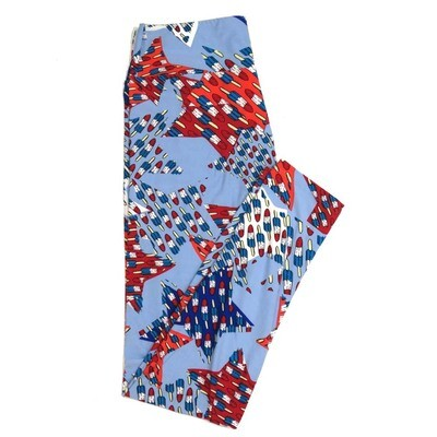 LuLaRoe One Size OS Americana USA Blue Red White Rocket Bomb Popsicles Stars Buttery Soft Womens Leggings fit Adult sizes 2-10  OS-4359-AJ
