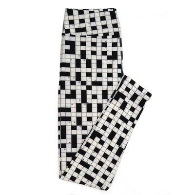 LuLaRoe One Size OS Black and White Crossword Puzzle Buttery Soft Womens Leggings fit Adult sizes 2-10  OS-4212-Z-3