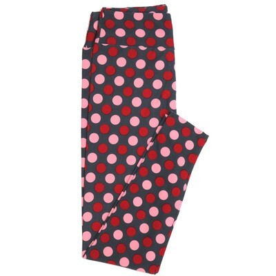 LuLaRoe One Size OS Gray Red Pink Large Polka Dots Valentines Love Hearts Buttery Soft Womens Leggings fit Adult sizes 2-10  OS-4353-AS