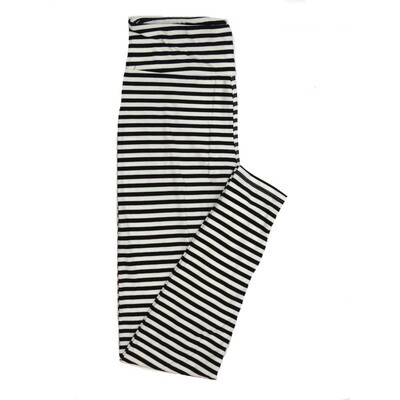 LuLaRoe One Size OS Black and White Stripe Buttery Soft Womens Leggings fit Adult sizes 2-10  OS-4335-6