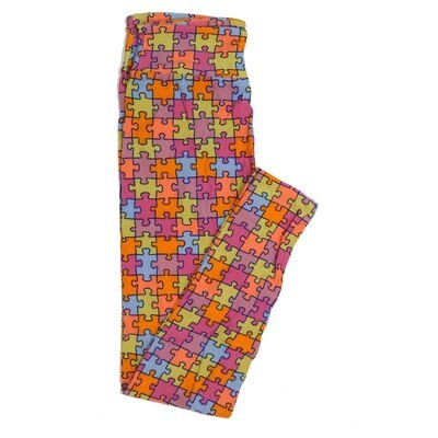 LuLaRoe One Size OS Autism Speaks Puzzle Pieces Buttery Soft Womens Leggings fit Adult sizes 2-10  OS-4361-AM-3