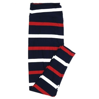 LuLaRoe One Size OS Navy with Thick Red and White Stripes Usa Americana Buttery Soft Womens Leggings fit Adult sizes 2-10  OS-4378-D-24