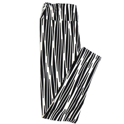 LuLaRoe One Size OS Black and White Weave Stripe Buttery Soft Womens Leggings fit Adult sizes 2-10  OS-4358-AL