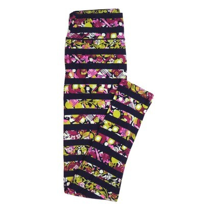 LuLaRoe One Size OS Floral Stripes black Yellow White Blue Buttery Soft Womens Leggings fit Adult sizes 2-10  OS-4352-AQ