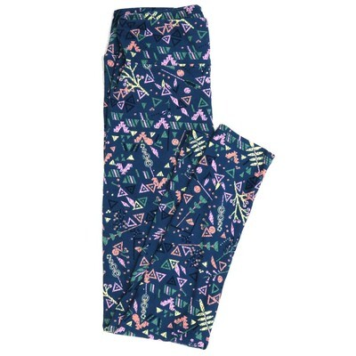 LuLaRoe One Size OS Geometric Buttery Soft Womens Leggings fit Adult sizes 2-10  OS-4371-AY-2