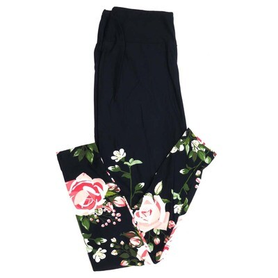 LuLaRoe One Size OS Navy Solid Upper with Pink White Roses Floral on Lower Legs Buttery Soft Womens Leggings fit Adult sizes 2-10  OS-4338-7