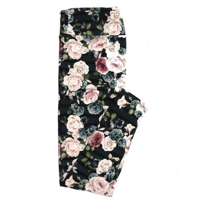 LuLaRoe One Size OS Dark Green Black Stripe Cream Pink Roses Buttery Soft Womens Leggings fit Adult sizes 2-10  OS-4311-8