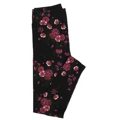 LuLaRoe One Size OS Black Fucshia Lavendar Floral Buttery Soft Womens Leggings fit Adult sizes 2-10  OS-4341-7