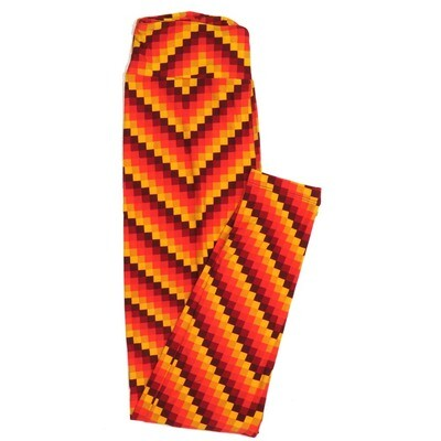 LuLaRoe One Size OS Bright Red Orange Yellow Block Stripe 70s Trippy Psychedelic Buttery Soft Womens Leggings fit Adult sizes 2-10  OS-4350-BA