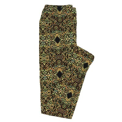 LuLaRoe One Size OS 70s Blakc white Yellow Diamond Eyes Trippy Psychedelic Buttery Soft Womens Leggings fit Adult sizes 2-10  OS-4350-AH-2