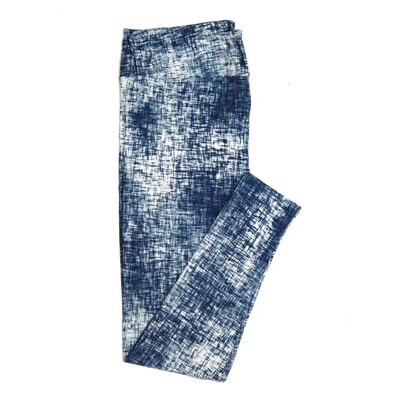 LuLaRoe One Size OS White Blue Abstract Cross Hatch Geometric Buttery Soft Womens Leggings fit Adult sizes 2-10  OS-4316-15