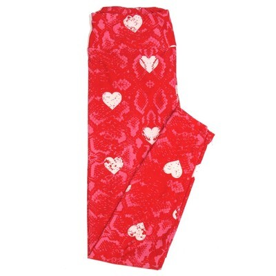 LuLaRoe One Size OS Snakeskin Pink w/ White Hearts Valentines Love Hearts Buttery Soft Womens Leggings fit Adult sizes 2-10  OS-4353-AQ