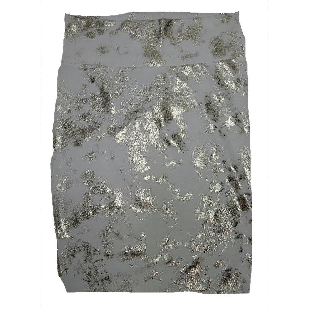 LuLaRoe Cassie Large L White Gold Elegant Womens Knee Length Pencil Skirt fits sizes 14-16