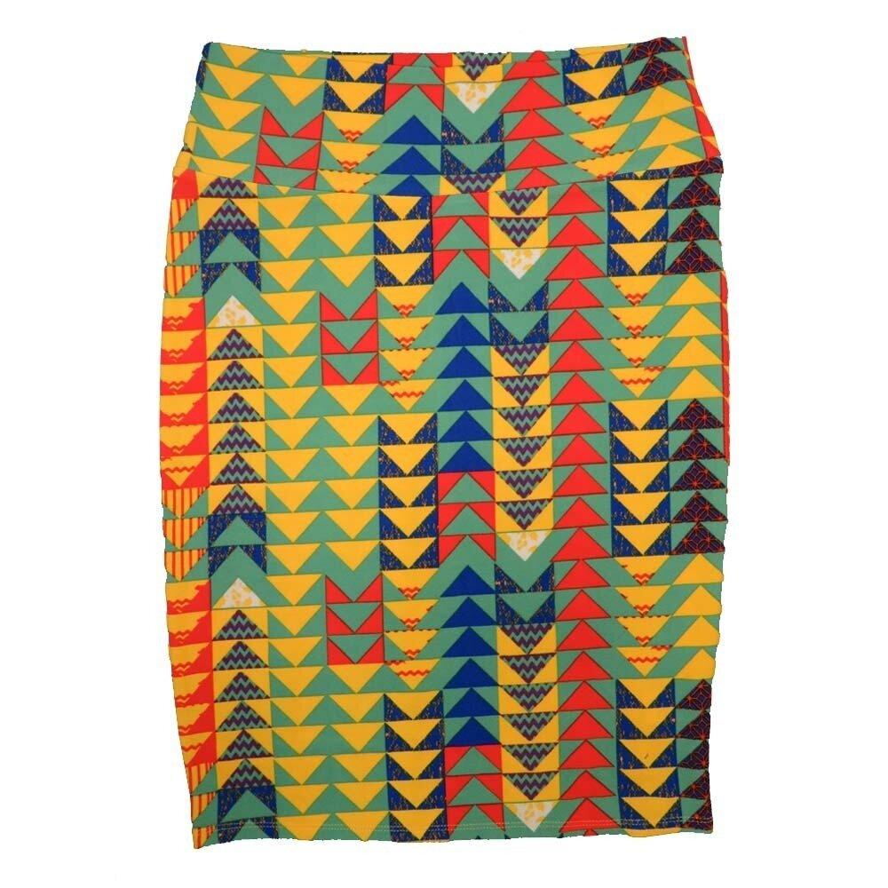 LuLaRoe Cassie Medium M Yellow Light Gren Blue Orange Arrow Geometric Womens Knee Length Pencil Skirt fits sizes 10-12