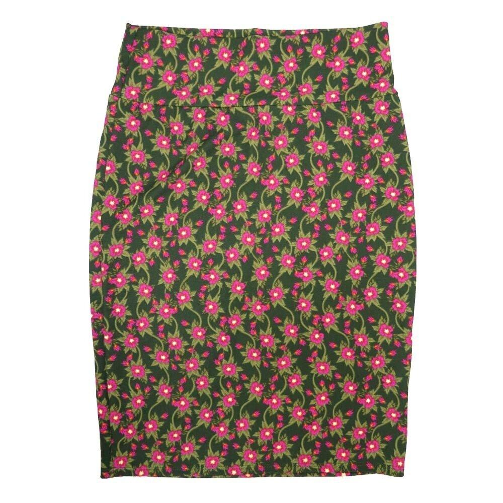 LuLaRoe Cassie Medium M Dark Green Fucshia Flroal Womens Knee Length Pencil Skirt fits sizes 10-12