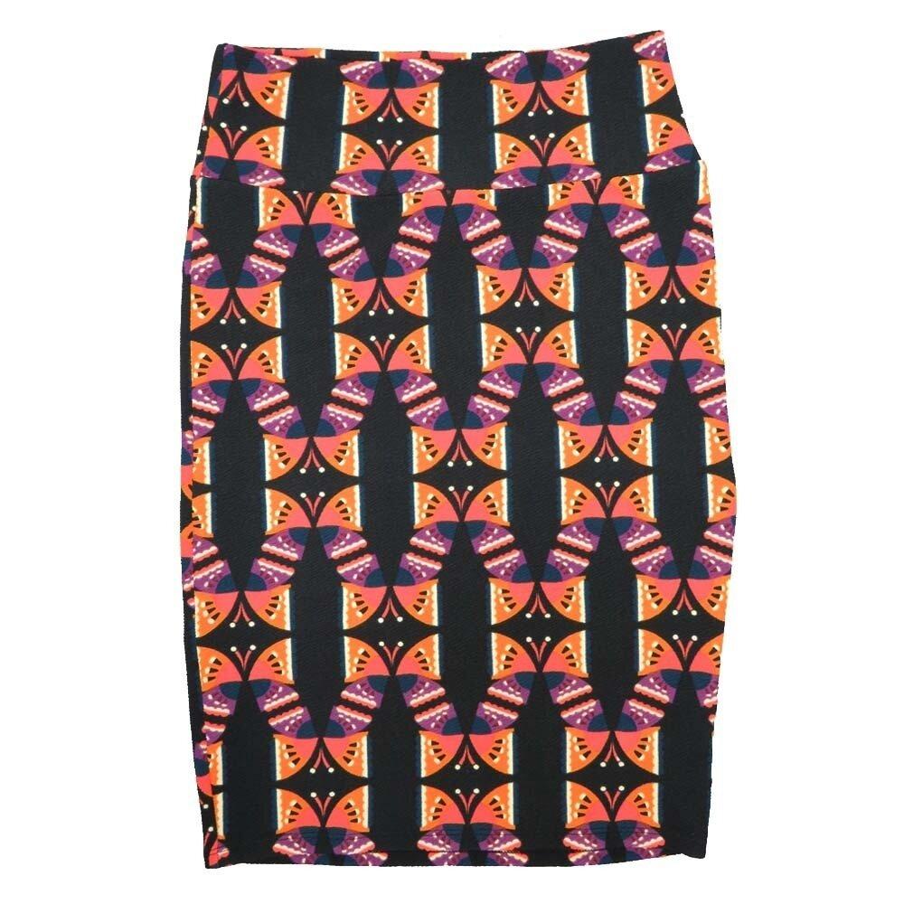LuLaRoe Cassie Small S Black Orange Purple Butterfly Womens Knee Length Pencil Skirt fits sizes 6-8