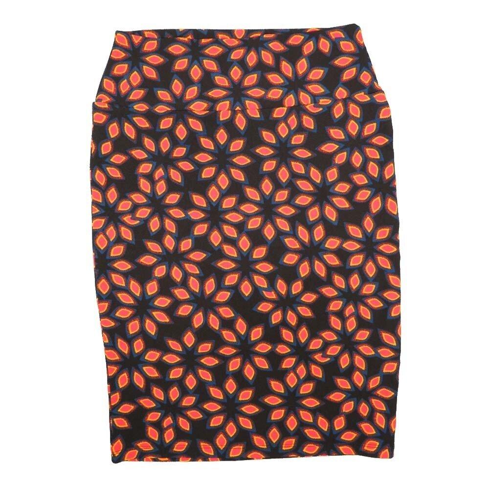 LuLaRoe Cassie Small S Black Orange Blue Flroal Womens Knee Length Pencil Skirt fits sizes 6-8