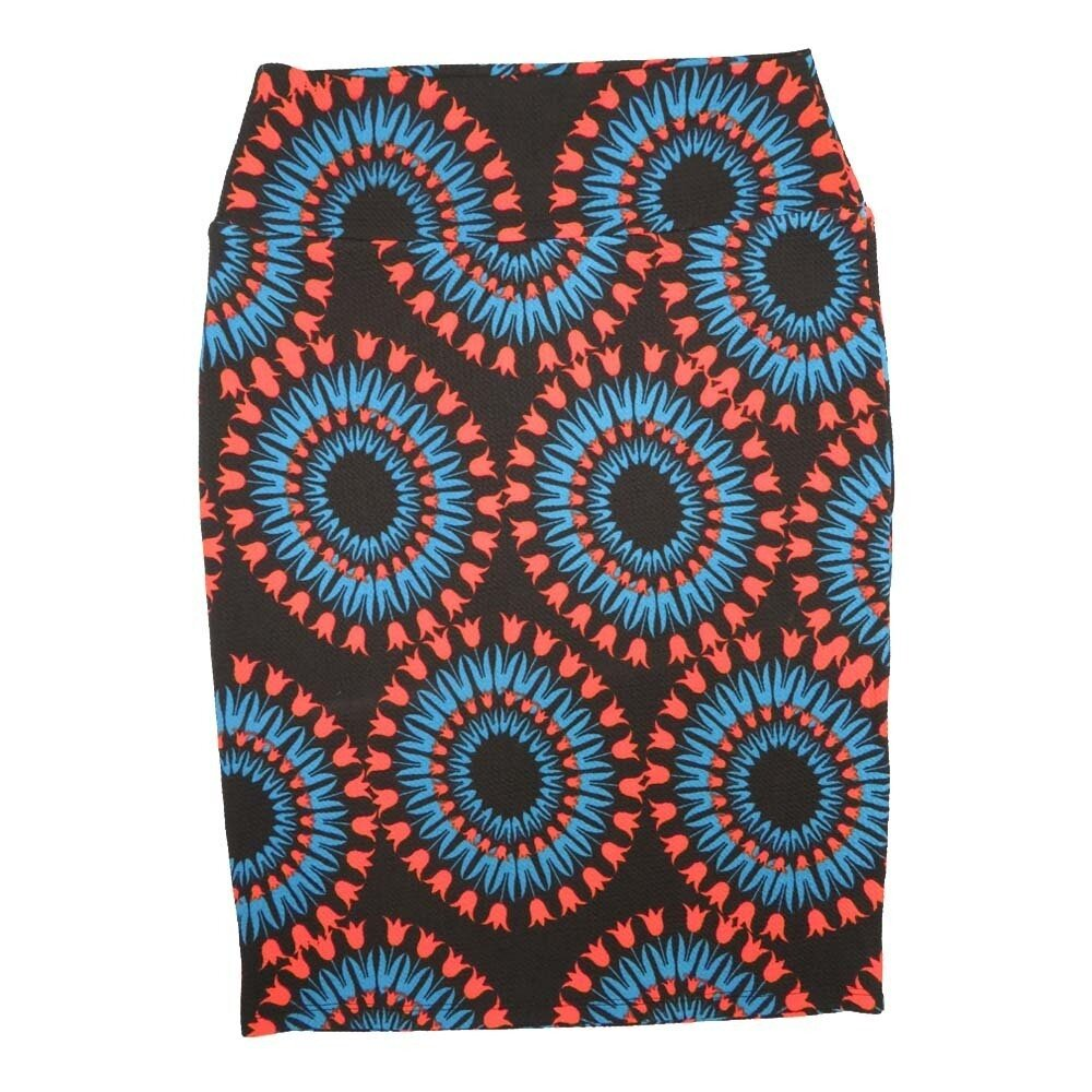 LuLaRoe Cassie Small S Black Coral Blue Mandala Flroal Womens Knee Length Pencil Skirt fits sizes 6-8