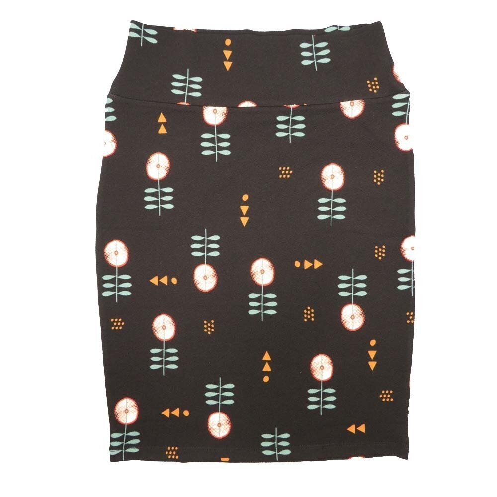 LuLaRoe Cassie Small S Black Light Green Gold Floral Womens Knee Length Pencil Skirt fits sizes 6-8