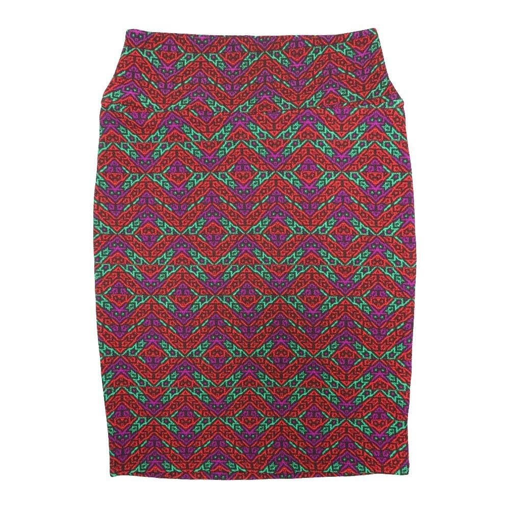 LuLaRoe Cassie Small S Red Orange Green Purple Zig Zag Womens Knee Length Pencil Skirt fits sizes 6-8