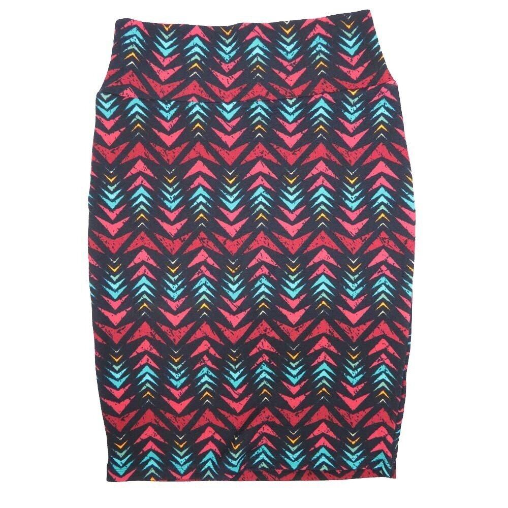 LuLaRoe Cassie Small S Navy Pink Light Blue Arros Womens Knee Length Pencil Skirt fits sizes 6-8