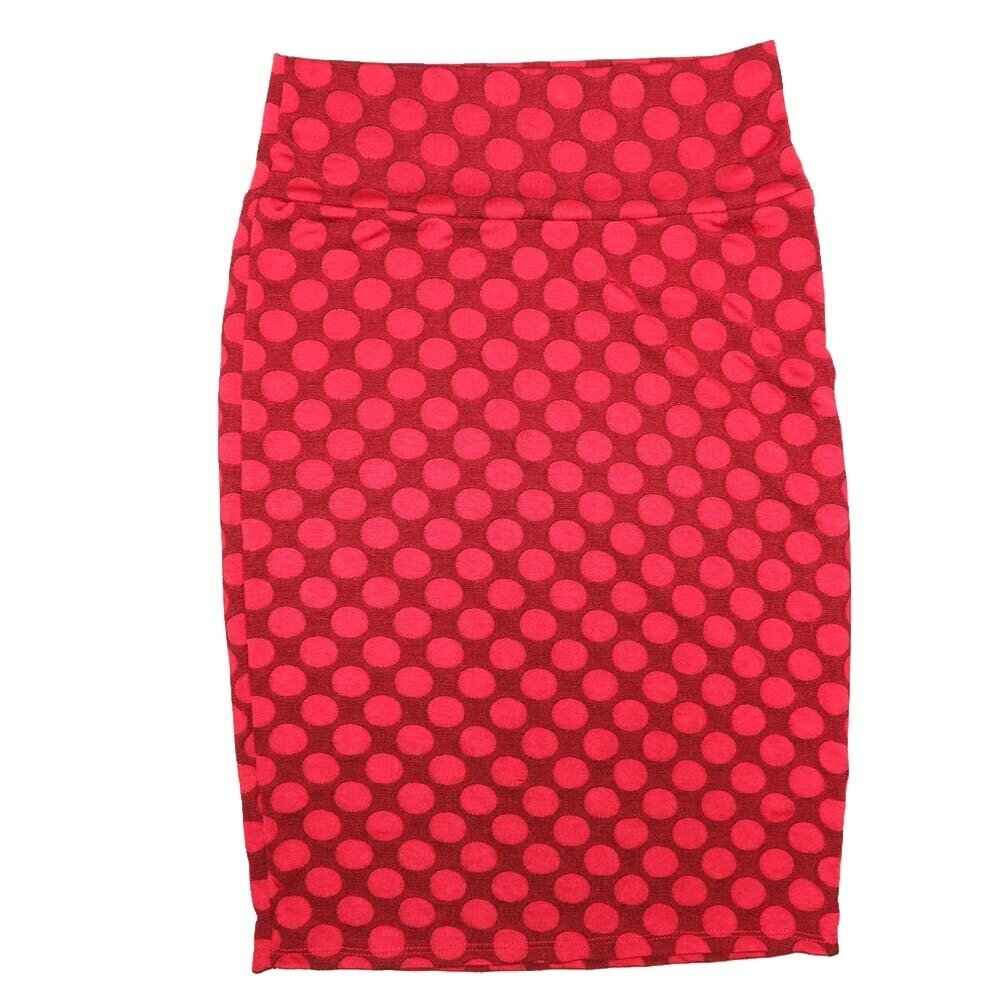 LuLaRoe Cassie Small S Red Polka Womens Knee Length Pencil Skirt fits sizes 6-8