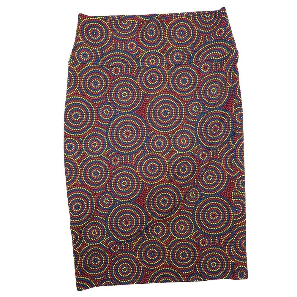 LuLaRoe Cassie Small S Polka Red Blue Yellow Womens Knee Length Pencil Skirt fits sizes 6-8