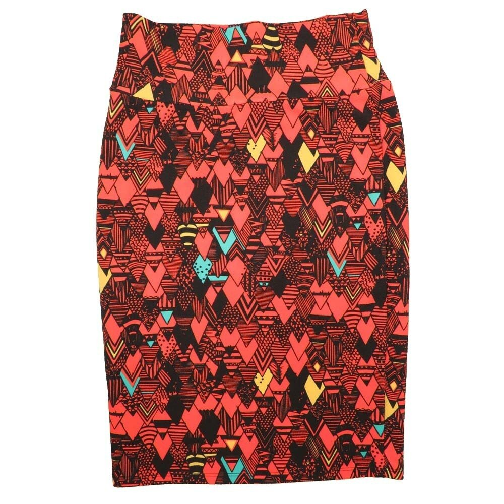 LuLaRoe Cassie Small S Red Black Blue Yellow Arrow Womens Knee Length Pencil Skirt fits sizes 6-8
