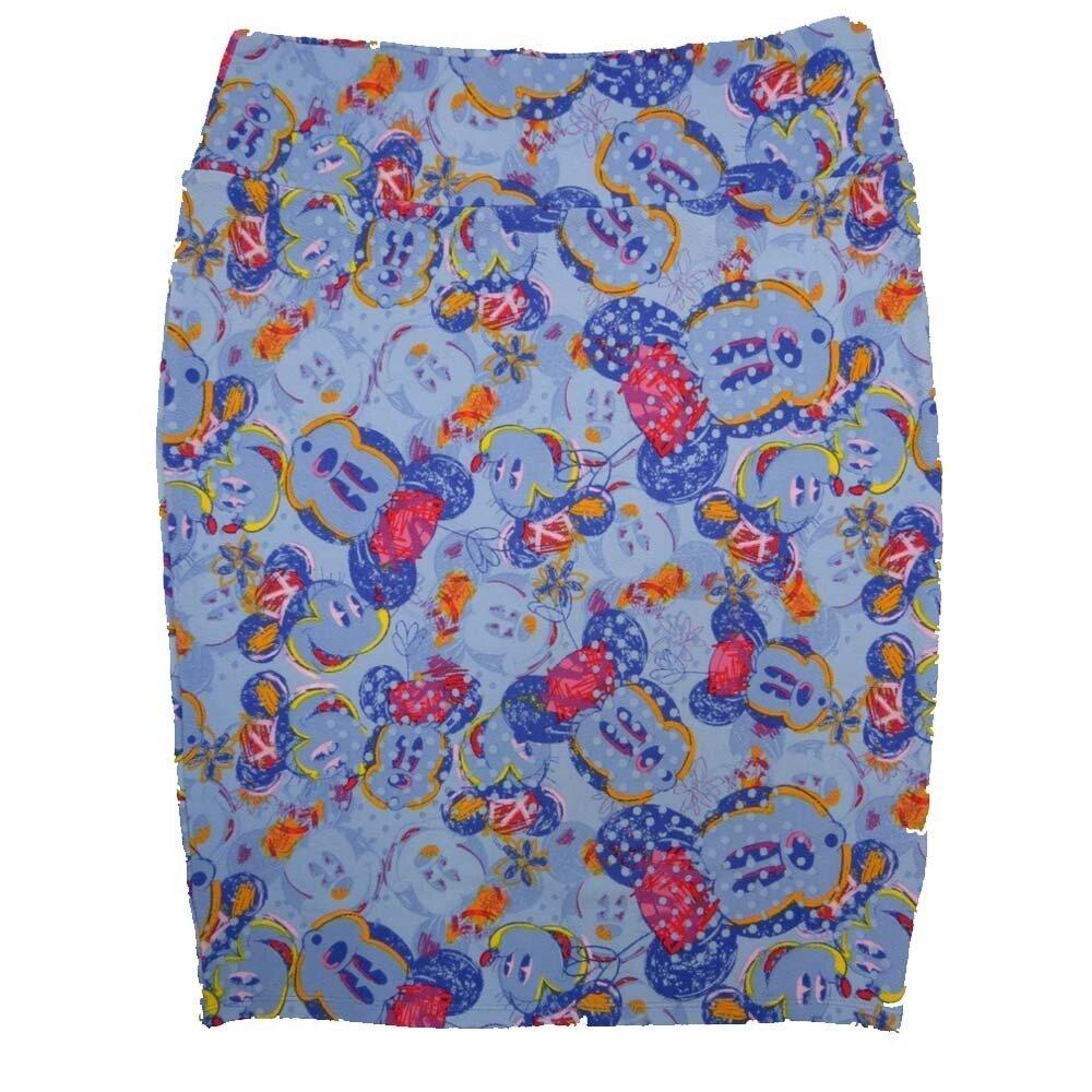 LuLaRoe Cassie X-Large XL Disney Mickey Mouse Blue Green Yellow Polka Dot Womens Knee Length Pencil Skirt fits sizes 18-20