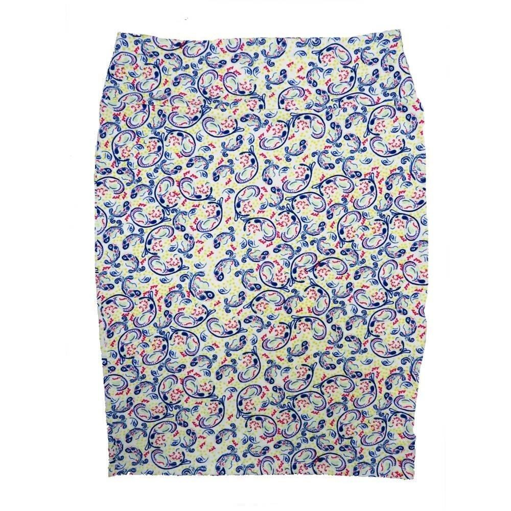 LuLaRoe Cassie X-Large XL Paisley Blue Yellow White Womens Knee Length Pencil Skirt fits sizes 18-20