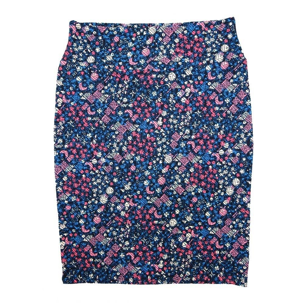 LuLaRoe Cassie X-Large XL Geometric Blue Pink White Womens Knee Length Pencil Skirt fits sizes 18-20