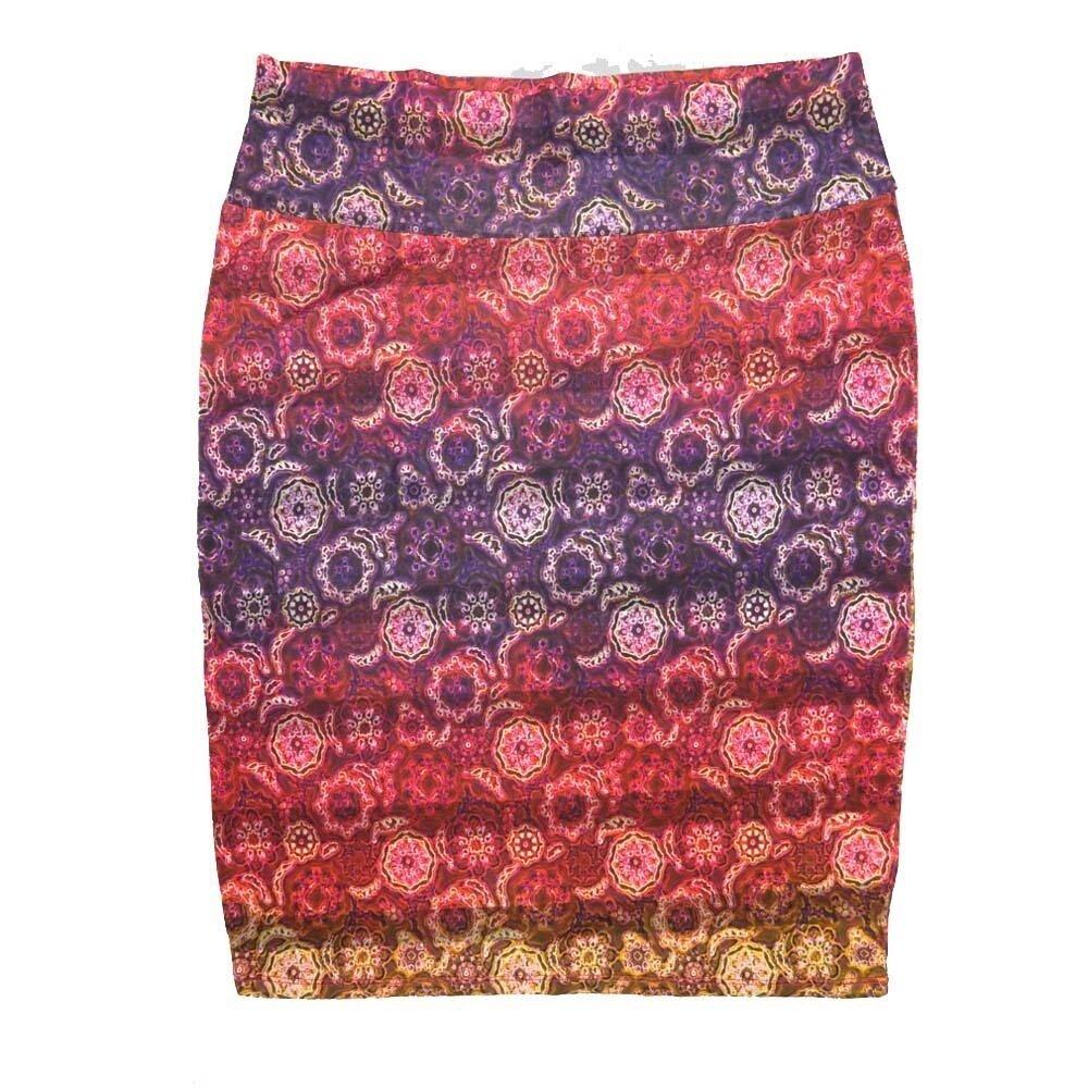 LuLaRoe Cassie X-Large XL Mandala Stripe Red Purple Gold Womens Knee Length Pencil Skirt fits sizes 18-20