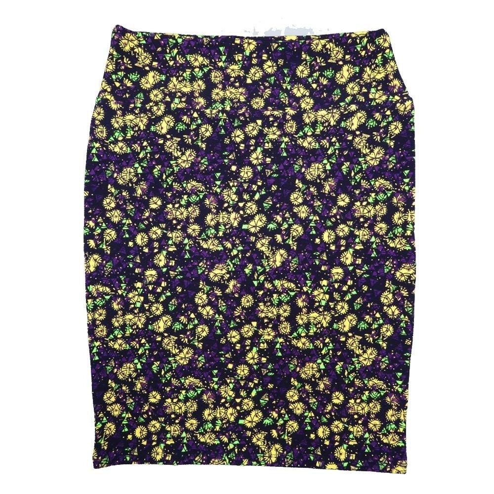 LuLaRoe Cassie X-Large XL Floral Geometric Purple Yellow Womens Knee Length Pencil Skirt fits sizes 18-20