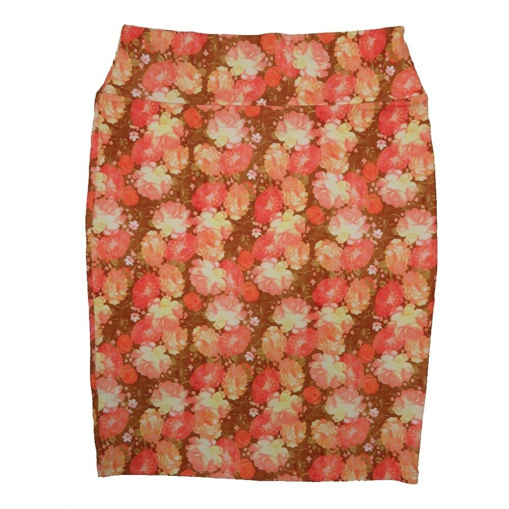 LuLaRoe Cassie X-Large XL Floral Geometric Coral Pink Yellow Womens Knee Length Pencil Skirt fits sizes 18-20