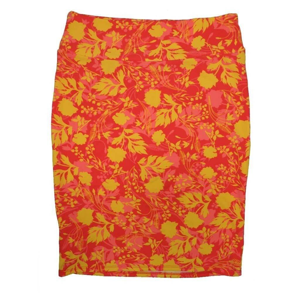 LuLaRoe Cassie X-Large XL Floral Gold Red Pink Womens Knee Length Pencil Skirt fits sizes 18-20