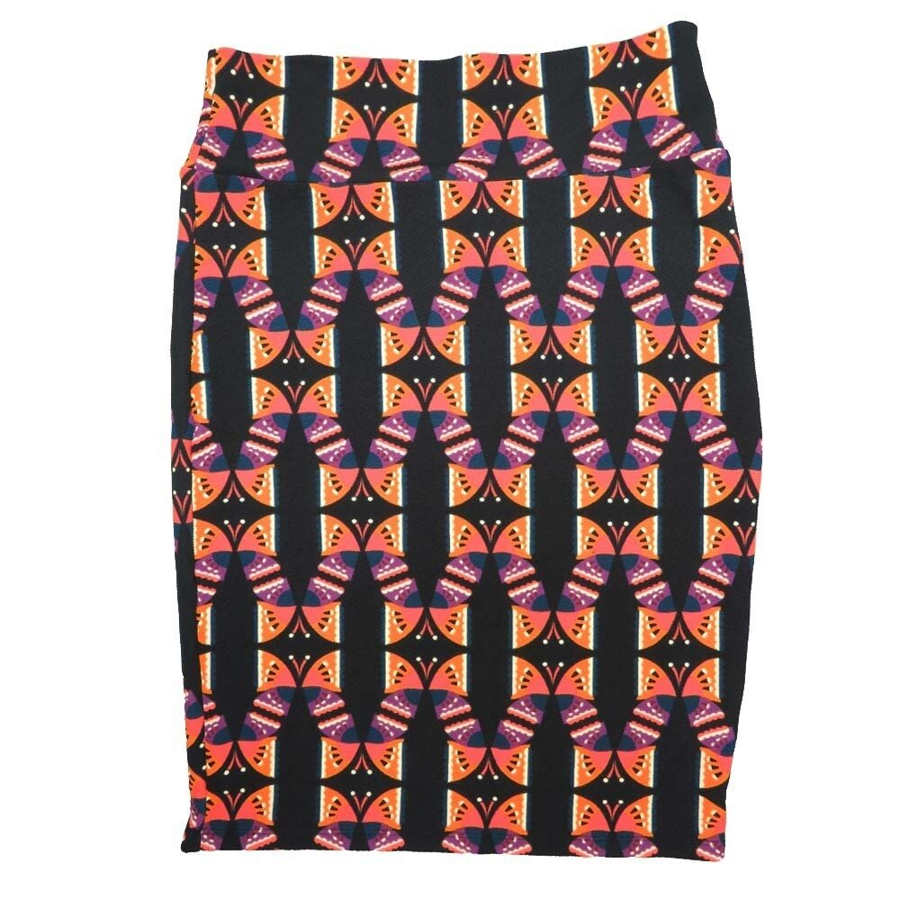 LuLaRoe Cassie X-Large XL Butterfly Geometric Black Purple Coral Womens Knee Length Pencil Skirt fits sizes 18-20