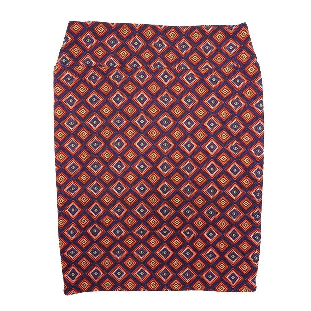 LuLaRoe Cassie X-Large XL Checkboard Polka Navy Yellow Red Purple Womens Knee Length Pencil Skirt fits sizes 18-20