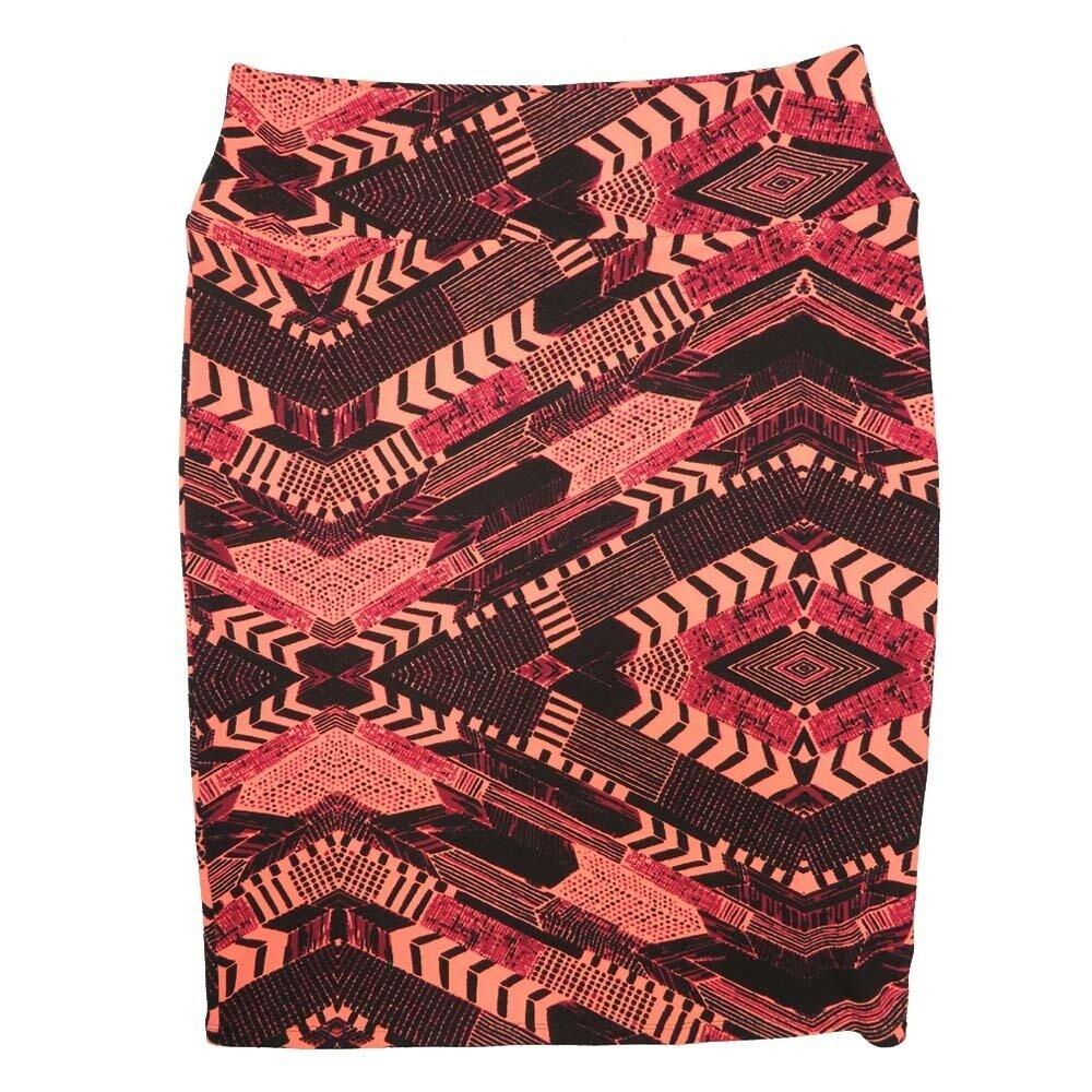 LuLaRoe Cassie X-Large XL Gods Eye Zig Zag Chevron Dark Pink Light Pink Black Womens Knee Length Pencil Skirt fits sizes 18-20