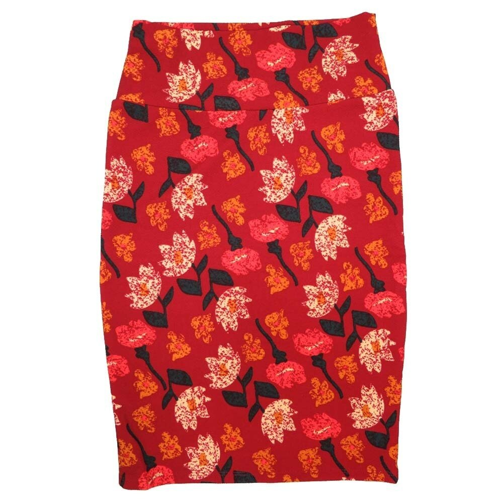 LuLaRoe Cassie X-Small XS Floral Red Cream Pink Womens Knee Length Pencil Skirt fits sizes 2-4
