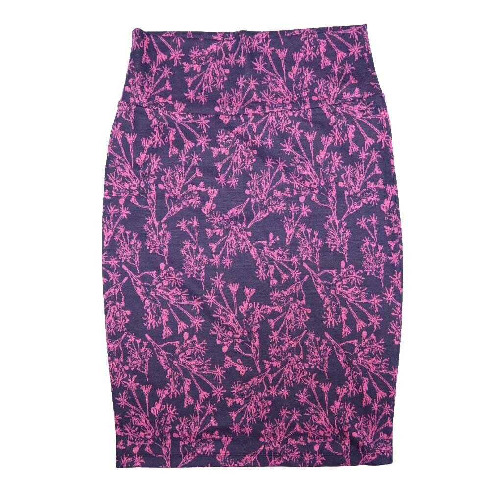 LuLaRoe Cassie X-Small XS Floral Dark Piur Light Purple Womens Knee Length Pencil Skirt fits sizes 2-4