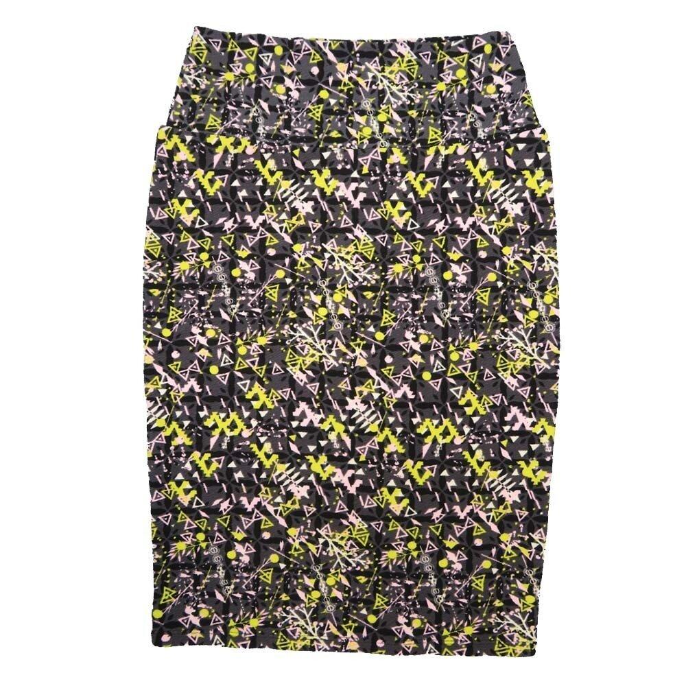 LuLaRoe Cassie X-Small XS Geometric Triangles Black Gray Yellow White Womens Knee Length Pencil Skirt fits sizes 2-4