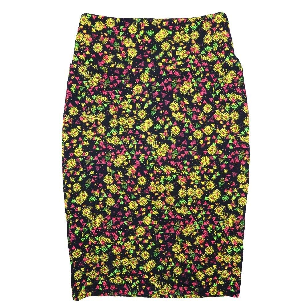 LuLaRoe Cassie X-Small XS Floral Black Yellow Pink Green Womens Knee Length Pencil Skirt fits sizes 2-4