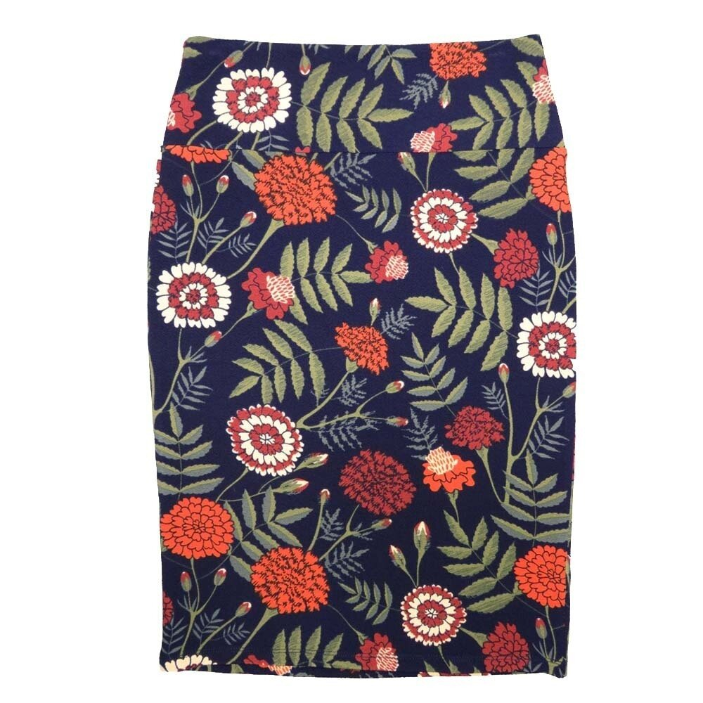 LuLaRoe Cassie X-Small XS Floral Navy Green White Orange Womens Knee Length Pencil Skirt fits sizes 2-4