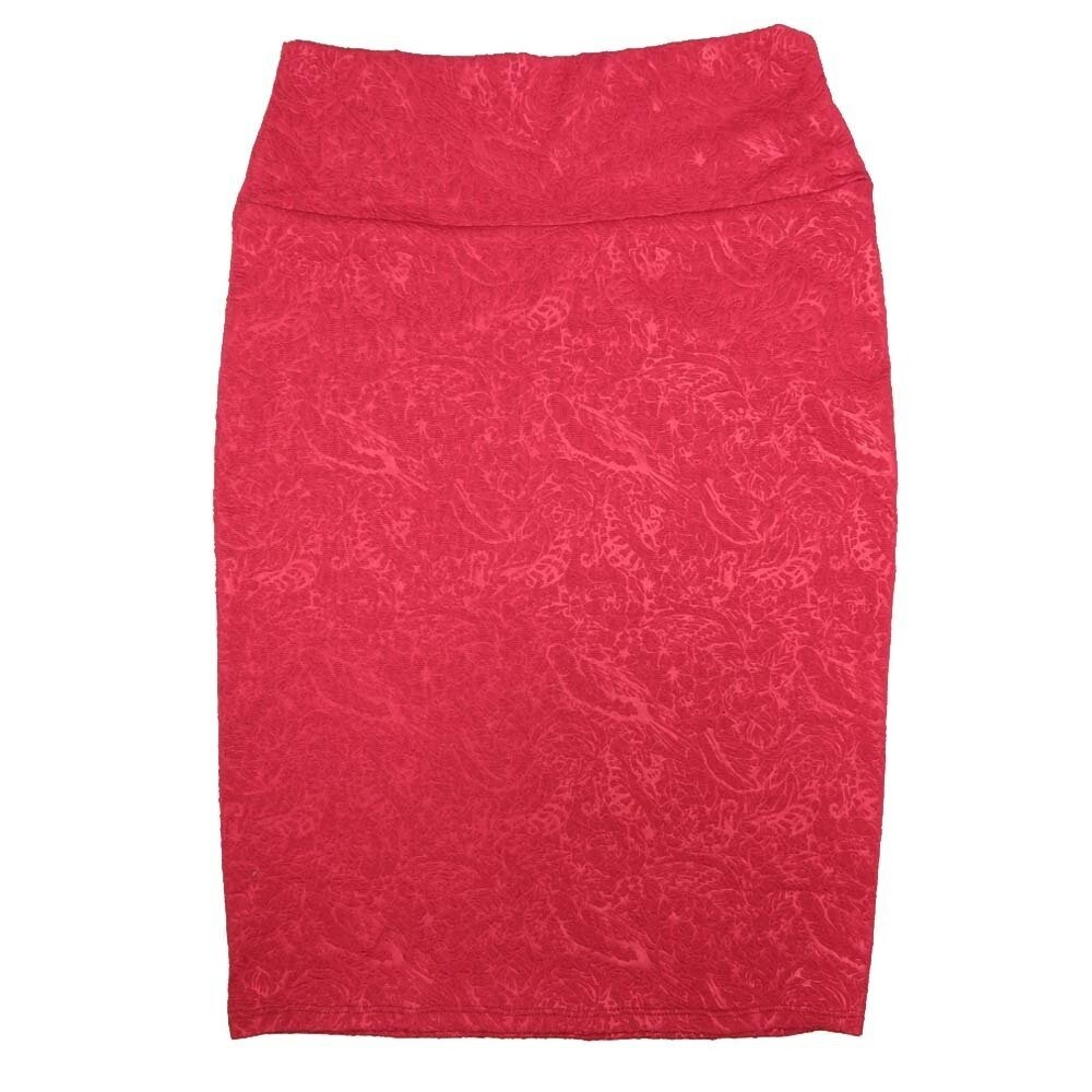 LuLaRoe Cassie X-Small XS Two Tone Birds Feathers Flowers Red Womens Knee Length Pencil Skirt fits sizes 2-4