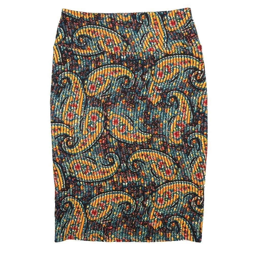 LuLaRoe Cassie X-Small XS Paisley Stripe Black Yellow Light Blue Womens Knee Length Pencil Skirt fits sizes 2-4