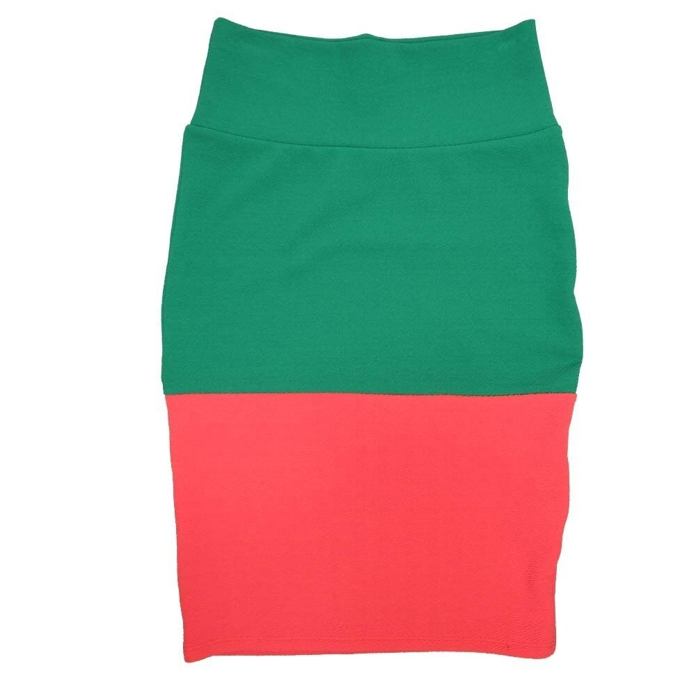 LuLaRoe Cassie X-Small XS Two Tone Solid Green Watermelon Womens Knee Length Pencil Skirt fits sizes 2-4