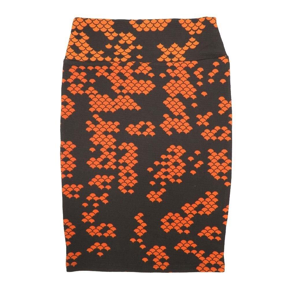 LuLaRoe Cassie X-Small XS Geometric Polka Dot Black Orange Womens Knee Length Pencil Skirt fits sizes 2-4