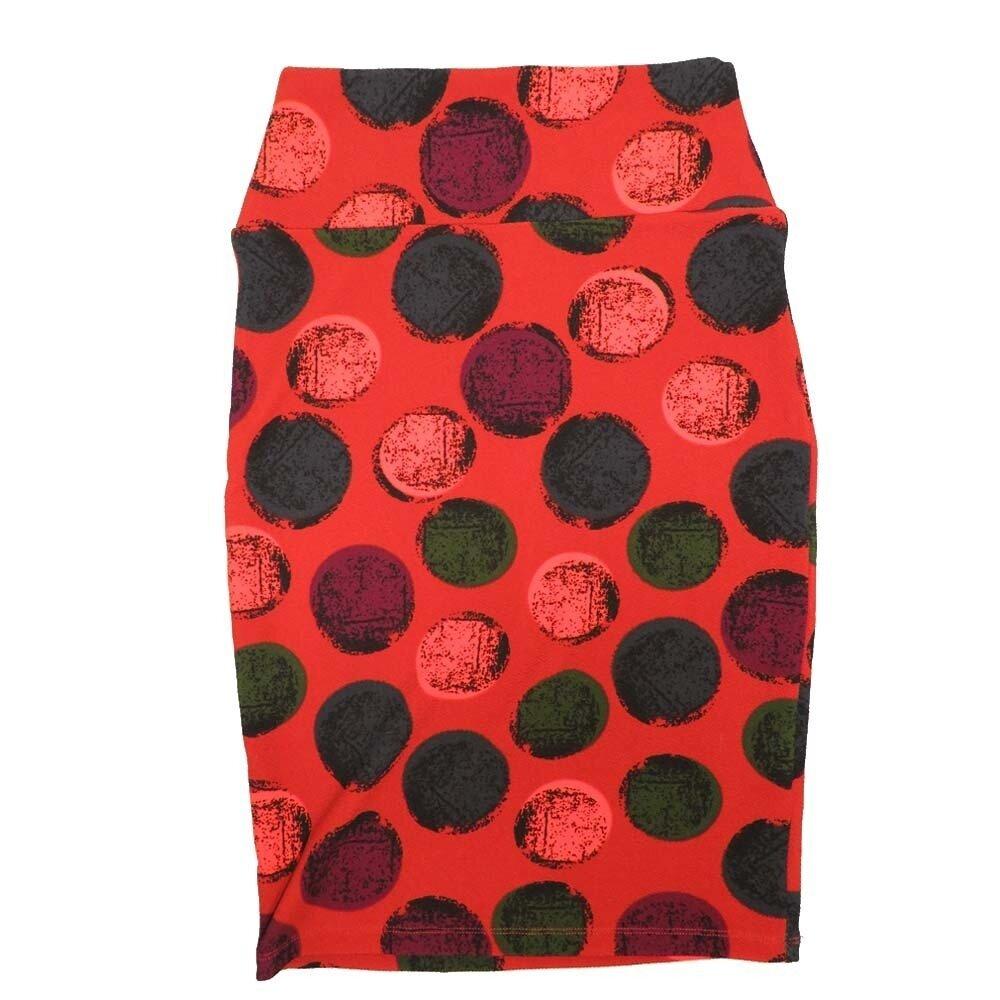 LuLaRoe Cassie X-Small XS Polka Dot Red Blue Maroon Womens Knee Length Pencil Skirt fits sizes 2-4